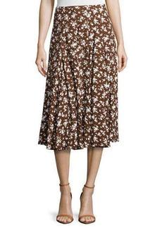 Michael Kors Floral-Print Dance Skirt, Nutmeg/White