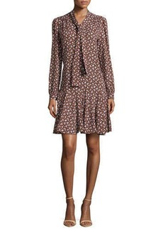 Michael Kors Floral-Print Front-Tie Dress, Nutmeg/White