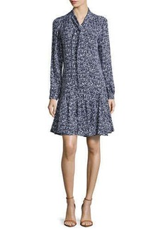 Michael Kors Floral-Print Front-Tie Dress, Optic White/Indigo