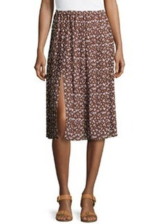Michael Kors Floral-Print Georgette Pleated Skirt