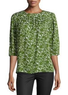 Michael Kors Floral-Print Silk Top