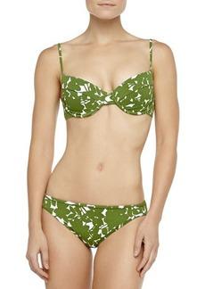 Michael Kors Floral-Print U-Wire Bikini, Grass