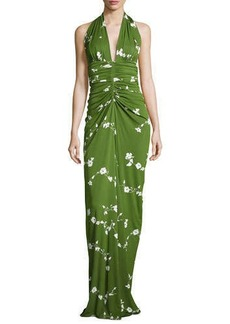 Michael Kors Floral-Vine Ruched Gown, Grass/Optic White