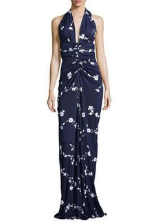 Michael Kors Floral-Vine Ruched Gown, Indigo/Optic White