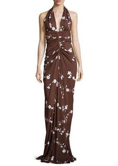 Michael Kors Floral-Vine Ruched Gown, Nutmeg/Optic White
