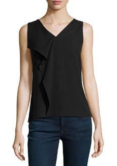 Michael Kors Flutter-Panel Silk Top, Black