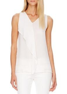 Michael Kors Flutter-Panel Silk Top, White