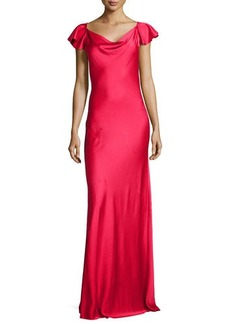 Michael Kors Flutter-Sleeve Bias Charmeuse Gown, Azalea