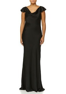 Michael Kors Flutter-Sleeve Bias Gown, Black