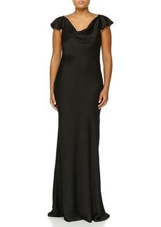 Michael Kors Flutter-Sleeve Bias Gown, Black