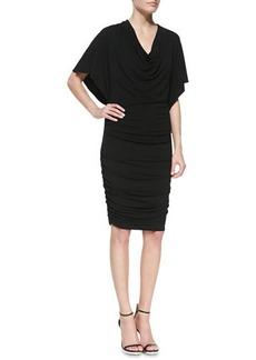 Michael Kors Flutter-Sleeve Ruched Dress