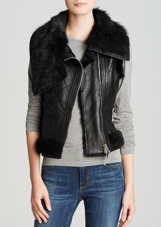 Michael Kors for Maximilian Quilted Lamb Shearling Vest