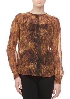 Michael Kors Fox-Print Silk Chiffon Top