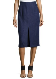 Michael Kors Front-Slit Pencil Skirt, Indigo