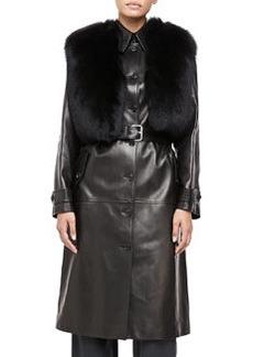 Michael Kors Fur-Collar Plonge Calfskin Leather Trench