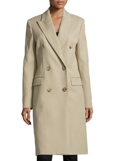 Michael Kors Gabardine Chesterfield Double-Breasted Long Coat