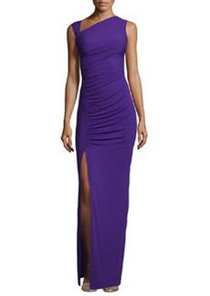 Michael Kors Gathered Asymmetric Jersey Gown, Grape