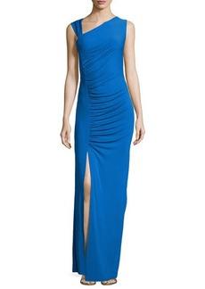 Michael Kors Gathered Asymmetric Jersey Gown, Royal