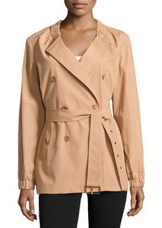 Michael Kors Gathered-Neck Belted Trench Coat