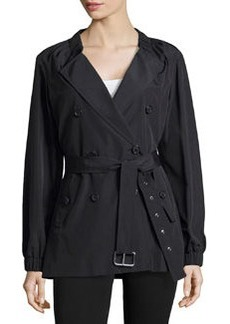 Michael Kors Gathered-Neck Belted Trench Coat, Black