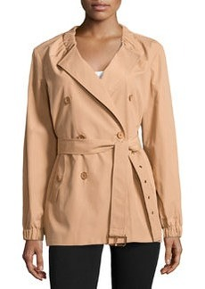 Michael Kors Gathered-Neck Belted Trench Coat, Suntan