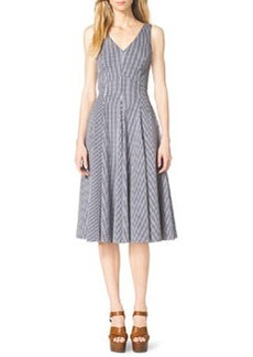 Michael Kors Gingham Check Sleeveless A-Line Dress