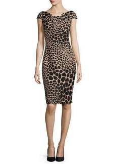 Michael Kors Giraffe-Print Origami Dress, Suntan/Black