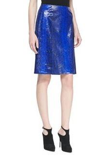 Michael Kors Glazed Python A-line Skirt, Sapphire