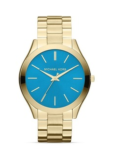 Michael Kors Gold-Tone & Blue Slim Runway Three-Hand Watch, 42mm