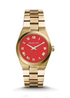 Michael Kors Gold-Tone & Genuine Coral Channing Watch, 38mm