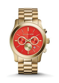 Michael Kors Gold-Tone & Orange Runway Watch, 45mm