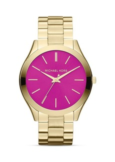 Michael Kors Gold-Tone & Pink Slim Runway Three-Hand Watch, 42mm