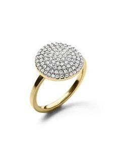 Michael Kors Golden Large Pave Disc Ring
