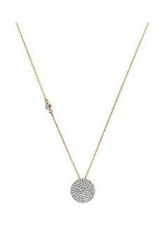 Michael Kors Golden Pave Disc Pendant Necklace
