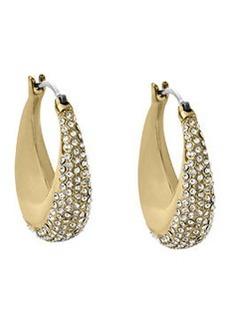 Michael Kors Golden Pave Hoop Earrings