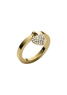 Michael Kors Golden Pave Puffy Heart Charm Ring