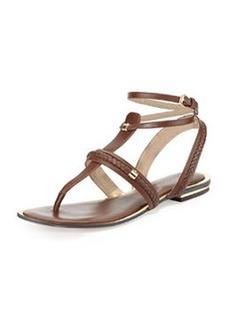 Michael Kors Halden Flat Leather Sandal, Nutmeg