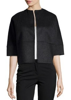 Michael Kors Half-Sleeve Boxy Cropped Jacket, Charcoal