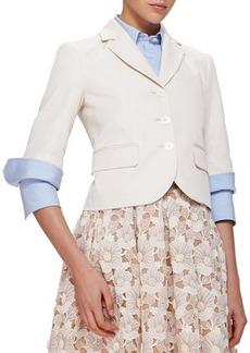 Michael Kors Half-Sleeve Cotton/Silk Blazer