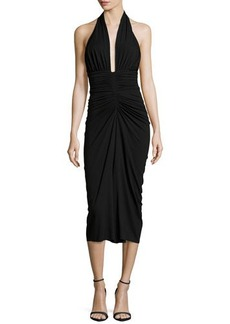 Michael Kors Halter Ruched Jersey Dress