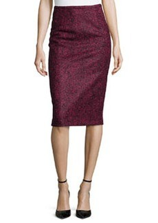 Michael Kors Herringbone Pencil Knee-Length Skirt, Black/Peony