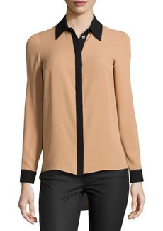 Michael Kors High-Low Silk Colorblock Shirt, Suntan