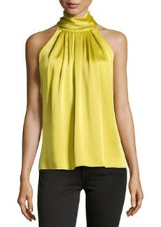 Michael Kors High-Neck Charmeuse Halter Top, Chartreuse