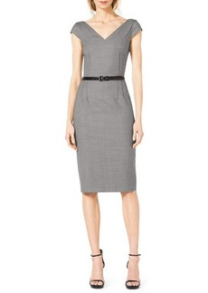 Michael Kors Houndstooth Belted V-Neck Suit Dress