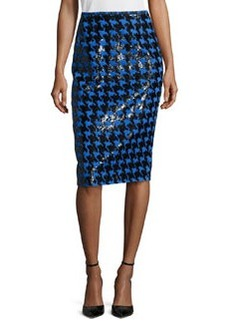 Michael Kors Houndstooth Jacquard Paillette Pencil Skirt, Black/Royal