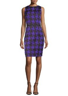 Michael Kors Houndstooth Jacquard Sheath Dress, Black/Grape