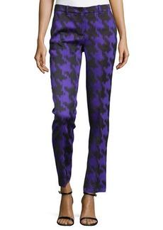 Michael Kors Houndstooth Jacquard Skinny Pants, Black/Grape