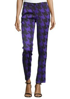 Michael Kors Houndstooth Jacquard Skinny Pants, Black/Grape