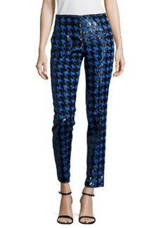 Michael Kors Houndstooth Paillettes Slim Ankle Pants. Black/Royal