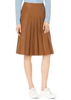 Michael Kors Knee-Length Pleated Leather Skirt